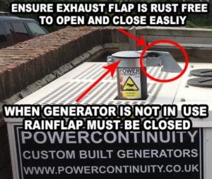 Generator Maintenance Daily Checks exhaust flap